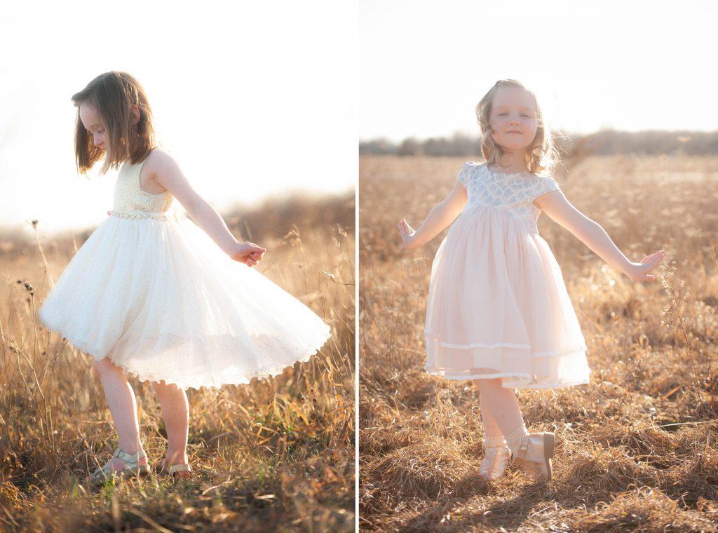 little girls in dresses in field